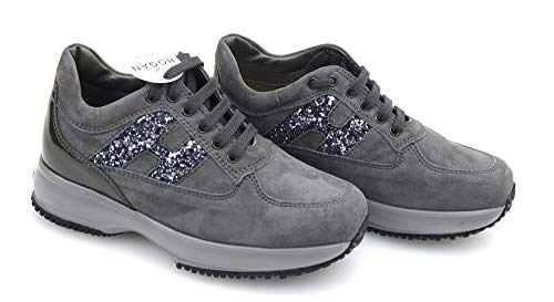 Hogan Junior Interactive Bambina Scarpa Sneaker Casual Art. HXC00N0O2409MU372B 31 CATRAME Piombo - Tar Lead