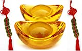 """Wenmily Yellow Crytal Feng Shui Golden Ingot/Yuan Bao, Office Living Room Decoration Attract Wealth and Good Luck,Feng Shui Decor (2 Pcs 2.3"""")"""