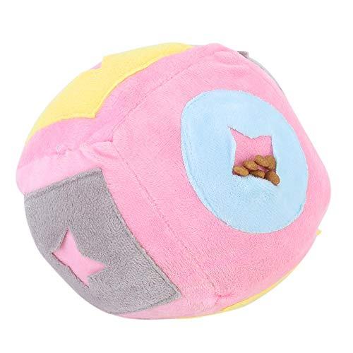 Atyhao Hund Kauspielzeug, Plüsch Haustier Kauen Training Spielzeug Futter Leckage Ball Haustiere Zähne Reinigung Beißspielzeug Pädagogisches Futterspielzeug für Hunde Welpe(Rosa)