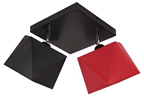 Plafonnier diamant D2 en acier - Plusieurs couleurs (structure : noir, abat-jour : noir/rouge)