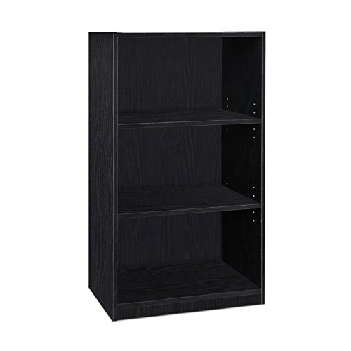 Furinno Jaya Simple casa (5 baldas), Color Blanco, Madera, Negro, 3-Tier