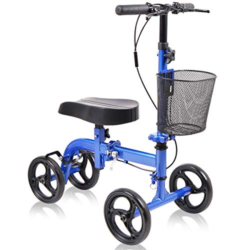 Knee Scooter All Terrain - Give Me Deluxe Medical Steerable Foldable Knee Walker for Broken Leg, Foot, Ankle Injuries Come with Orthopedic Seat Pad - Compact Crutches Alternative in Blue