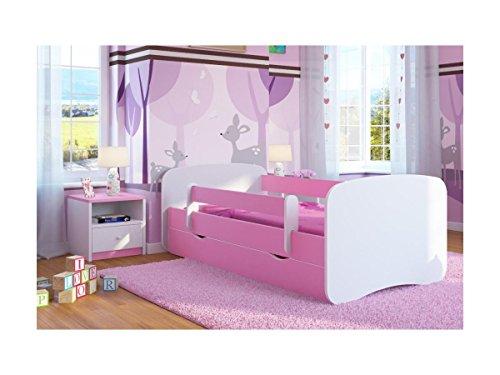Bjird Kinderbett Jugendbett 70x140 80x160 80x180 Rosa mit Rausfallschutz Schublade und Lattenrost Kinderbetten für Mädchen - ohne Motiv 160 cm