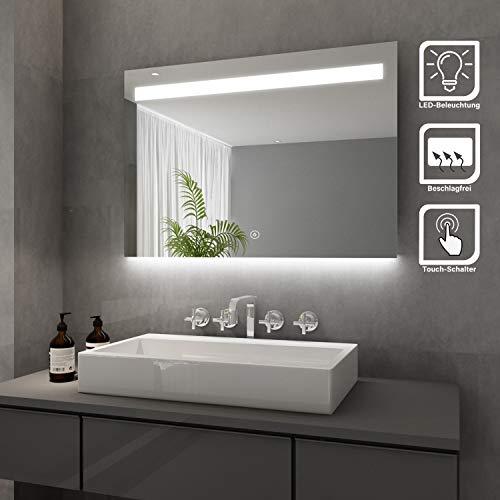 Elegant Badspiegel mit LED-Beleuchtung Lichtspiegel 100 x 70 cm kaltweiß IP44 Energiesparend Badezimmer Wandspiegel mit Touch-Schalter beschlagfrei badezimmerspiegel