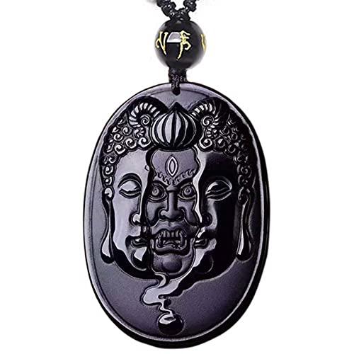 SWAOOS Buda y el Diablo Tallado Collar de obsidiana Colgante de Hombre Colgante con Cadena joyería de Jade Negro