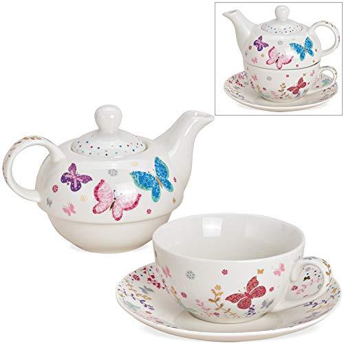 matches21 Tea for One Tee Geschenkset mit bunten Schmetterlingen weiß/bunt Porzellan - Teekanne, Tasse & Teller