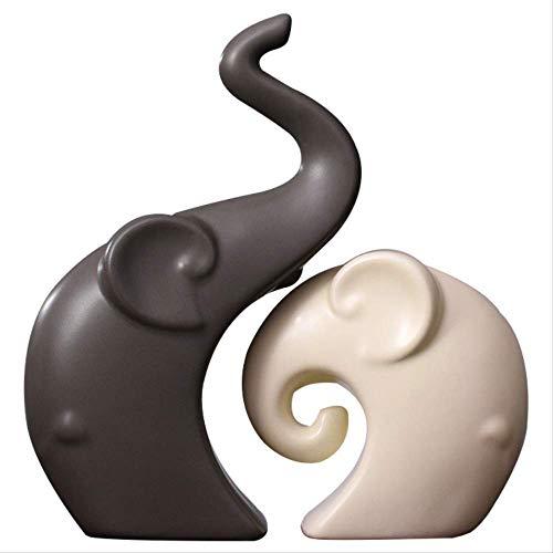 Statyer och figurer för trädgårdsskapande heminredning Keramiskt par Elefantdekoration Modernt minimalistiskt sovrum Vardagsrum Veranda Dekorationsgåva