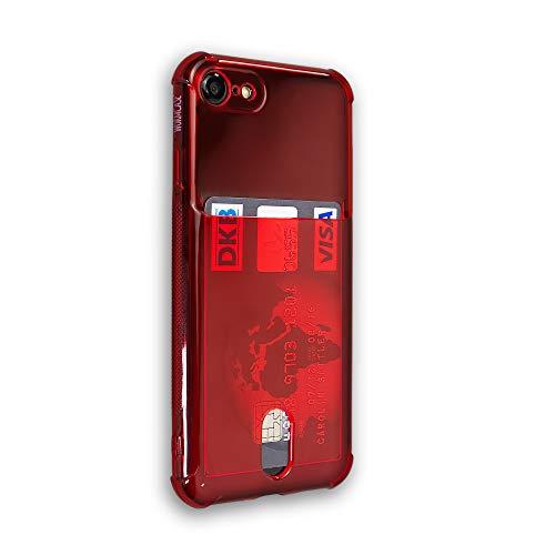 Wormcase® Kunststoffhülle mit Kartenfach kompatibel mit iPhone SE (2020) & 7/8 - Farbe Rot - TPU Schale Back-Cover Schutz-Tasche Kratzfest Stoßfest Bumper Crystal-Clear dünn leicht schmal