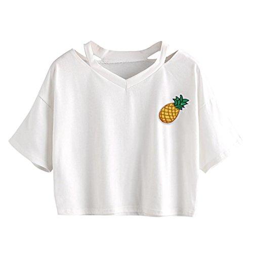 Felpe Tumblr Kword Donne Ragazza Scollo A V Camicia Corta, T-Shirt Estate con Ananas Stampa Camicetta Elegante Pullover Felpa Top Maglia Maglietta Fashion (Bianco, M)