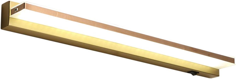LED Spiegellampe, Wasserdicht Anti-beschlag Schminkleuchte Modern Wandbeleuchtung Leuchte Kupfer 8w Spiegelleuchte-50cm(19.7in) warmes Licht