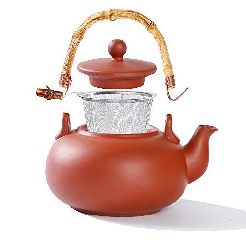 Urban Lifestyle Ton-Teekanne Terry - 1,0L Teekanne aus Ton mit Bambusgriff und Stahlfilter