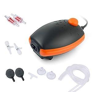 HITOP Aquarium Air Pump with Accessories, Silent Oxygen Pump for Aquarium, Whisper Aerator for Fish Tank 10L to 400 Litres (BLACK-ORANGE)