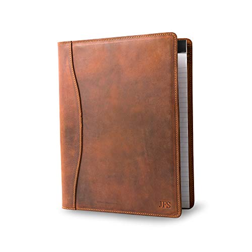 Personalized Leather Padfolio Legal Pad Folio Organizer | Customized Executive Binder | Monogrammed Heavy Duty Full Grain Rustic Cow Hide Interview Pad for Men Women (Mahogany Brown)