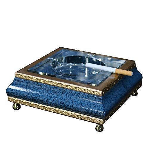 Slivy Los Cigarrillos de Cristal de Madera de la Cenicero Europea Azul Elegante del Oro de Mesa Cenicero for Fumadores, pies Redondos Cobre Hecho a Mano de Escritorio Fumadores Cenicero