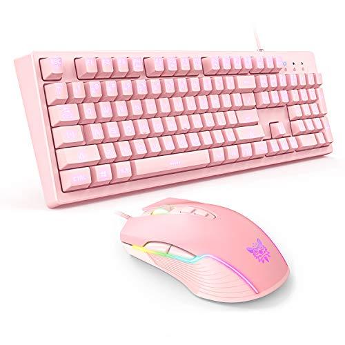 ONIKUMA Combo de teclado y ratón para juegos con cable rosa, teclado...