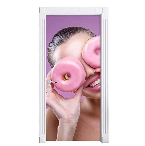 kasup Decoración del hogar Impresión de la Puerta Mujer Linda Donut Etiqueta de protección del Medio Ambiente Papel Autoadhesivo para Sala de Estar PVC Impermeable