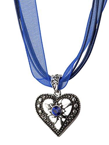 Trachtenkette Herzstein eleganter Herz Anhänger mit funkelndem Strass - Trachtenschmuck Kette für Dirndl und Lederhose (Blau)