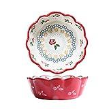 MIAO. Bakeware Dipinto a Mano, Frutta insalatiera, Salsa Piatto, Alimenti per l'infanzia integratore Ciotola, Due Pezzi Ciliegia Ciotola,A