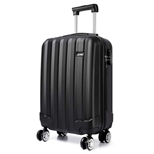 Kono Lightweight Cabin Suitcase 55x35x20cm Hard Shell ABS Luggage with 4 Wheels Carry On Hand Travel Suitcases (Small, Black)