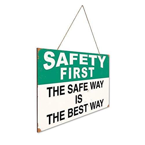 NOT Safety First The Safe Way Best Way Safety Wood Plaque Sign Wooden Vintage Art Wall Hanging Decoration Wood Door Signs Yard Garden Home Cafe Bar Store Office Toilet Public Gift