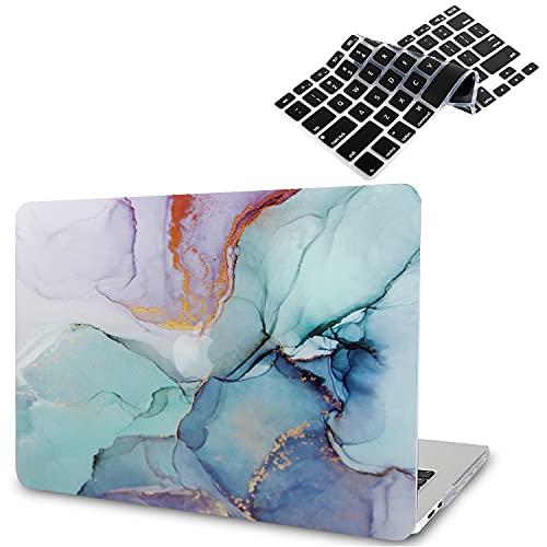 B BELK Funda para MacBook Air 2020 (Modelo: A2337 M1 A2179 A1932), Efecto 3D Funda para MacBook Air de 13,3 Pulgadas 2019 2018 con Touch ID + 2 Cubiertas de Teclado Negras, Mármol Azul