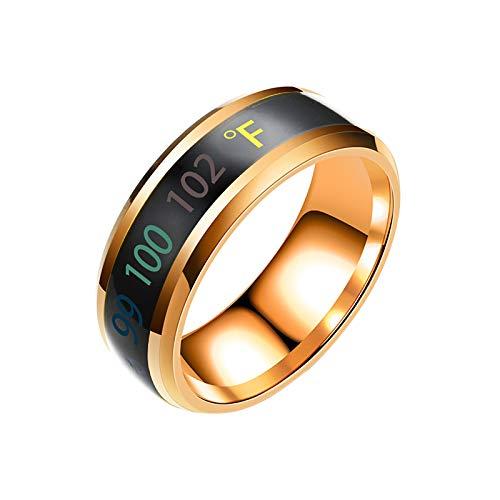 AILIEE Ringe Für Damen & Herren Erfassung Von Temperaturänderungen Ringschmuck New Intelligent Temperature Couple Ring Mood Display Damenring Freundschaftsringe Partnerringe(Roségold,12)