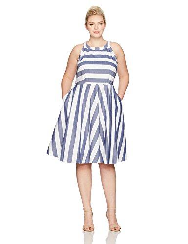 Eliza J Women's Plus Size Stripe Fit and Flare Dress, Blue, 18W