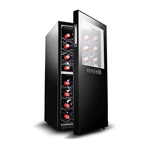 LKNJLL Refrigerator-White & Red Chiller Countertop Cooler-Freestanding Compact Mini Wine Fridge 32 Bottle Capacity, Digital Control, Glass Door