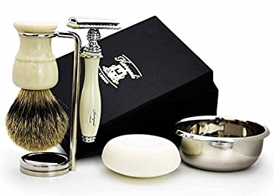 Ivory Colour Men's Shaving Set. The Set Comes with Pure Sliver TIP Badger Hair Shaving Brush, DE Safety Razor. Stainless Steal Brush Stand & Bowl, Free SOAP.Newly Designed