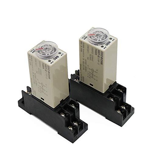JSJJAUA Relé 1 UNIDS H3Y-2 AC 220V Temporizador de Tiempo Interruptor de retransmisión 0-30 Minutos/Segundos Ajustable 5A con zócalo Giratorio de la Base DPDT (Size : 0 30 Minute)