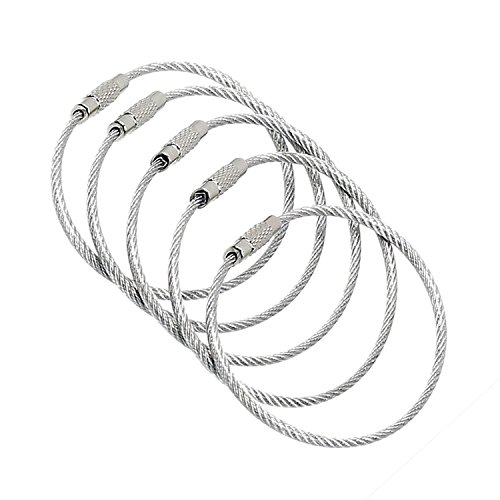 Growment 20-Pack-Silver Ultra Stainless Steel String Wire Luggage Tags Loop Key Rings