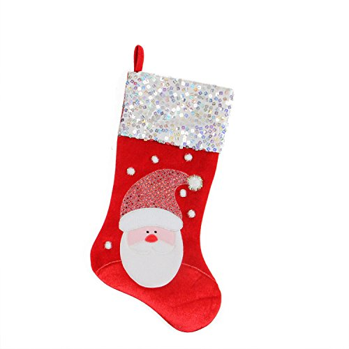 Santa Claus Red and White Christmas Stocking with Sequined Cuff