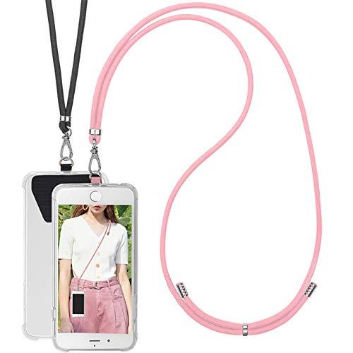 COCASES 2 Piezas Cadena de Teléfono Celular Universal, Cordón Correa para el Cuello Compatible con iPhone/Samsung/Huawei (Negro+Pink)
