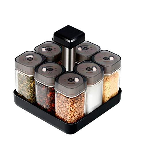xinxinchaoshi Caja para Condimentos Juego de Botellas de Condimento for Cocina, Familia Rotary Glass Cruet Categoría Sazonador Único (9 Piezas) Tarros de Especias