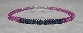 Opal Bracelet, Black Opal Bracelet, Ethiopian Opal Bracelet, Mystic Pink Topaz Bracelet, Fiery Opal Bracelet, Dainty Bracelet 3.5 mm