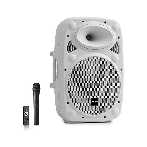 auna Streetstar - Equipo PA portátil, Altavoz DJ, Bluetooth, Puerto USB, SD, MP3, AUX, Batería 3 Ah, Pantalla LED, Micrófono UHF, Mando a Distancia, Subwoofer 10