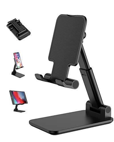 Foldable Cell Phone Stand, [2020 Updated] Moayyp Angle & Height Adjustable Desk Phone Holder with Stable Anti-Slip Design Compatible with Smartphones/iPad Mini/Kindle (Black)
