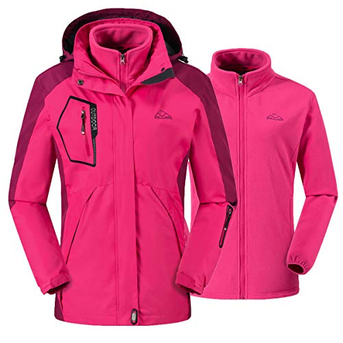 donhobo Damen Ski 3-in-1-Jacke 2 Stück Outdoor Wasserdicht Winddicht Winterjacke Doppeljacke Regenjacke Fleecejacke Wanderjacke Rosa L