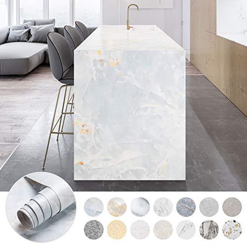 iKINLO 61 x 500 cm Marmor Möbelfolie Selbstklebende Folie PVC Wasserdicht Marmorfolie Granit küchenfolie DIY Dekofolie Tapete für Schlafzimmer Küche Schrank Tisch, Typ C