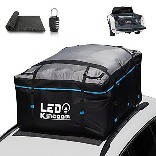 LEDKINGDOMUS Rooftop Cargo Bag, Waterproof 19cft Truck Pickup Cargo Carrier, 600D with PVC Coating Roof Top Bag for All Cars with/Without Rack, Includes Straps/Door Hooks/Anti-Slip Mat/Lock