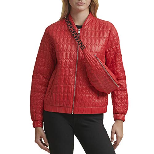 DKNY Damen PACKABLE QUILTED JACKET Übergangsjacke, rot, Medium