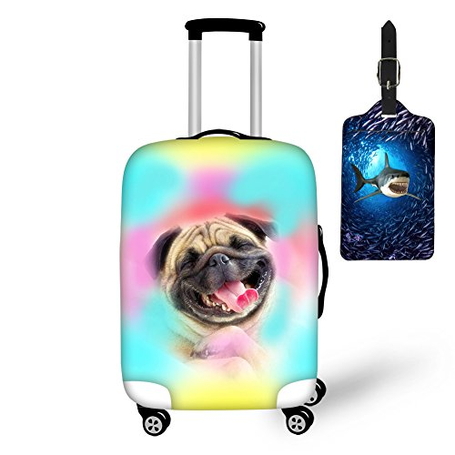 Nopersonality Multicolor Puppy Pug Dog Travel Suitcase Cover Creative Luggage Set Protector & 3D Shark Blue Luggage Tag