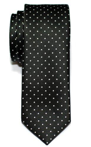 Retreez Corbata de microfibra fina con puntitos para hombres Negro con el punto blanco