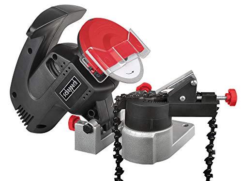 Scheppach Kettenschärfer KS1200 (200W, Schleifscheibe- Ø 100mm, Bohrungs- Ø 10mm, großer Funkschutz, kompakte Bauweise, robustes Gehäuse, einfach transportierbar)