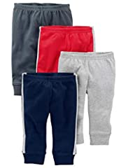 Four pairs of pants in baby-soft cotton Covered elasticized waistbands Ribbed cuffs Trusted Carter's quality, everyday low prices, and hassle-free packaging
