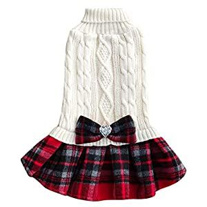 kyeese Dog Sweater Dress Plaid with Bowtie Turtleneck Dog Pullover Knitwear Pet Sweater for Fall Winter