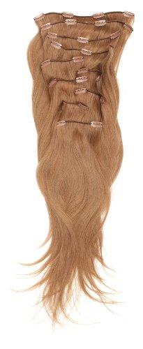 Love Hair Extensions - LHE/A1/QFC/120G/10PCS/18/10 - 100 % Cheveux Naturels Lisses et Soyeux - 10 Pièces Clippants en Extensions - Couleur 10 - Medium Ash Brown - 46 cm