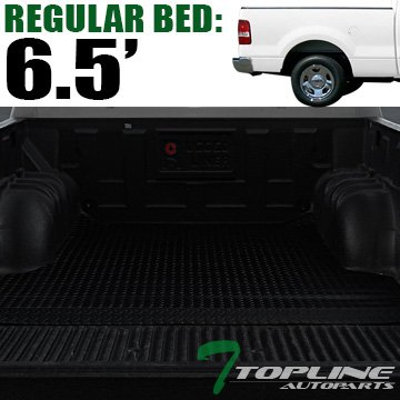 Topline Autopart Black Rubber Diamond Plate Truck Bed Floor Mat Liner For 04-14...