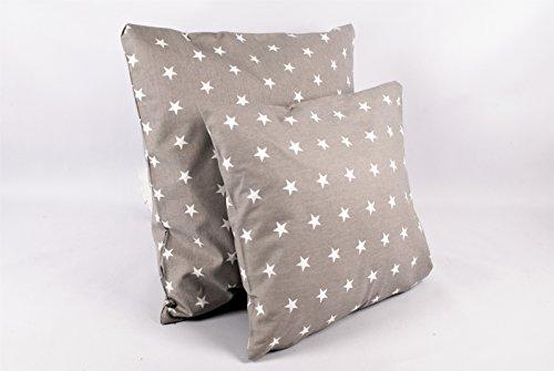 1buy3 - Funda de cojín (2 Unidades) - Estrellas Grises 50 cm x 50 cm de 100% algodón con Cremallera.