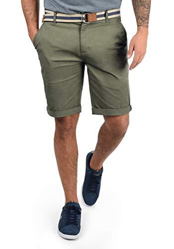 !Solid Monty Chino Pantalón Corto Bermuda Pantalones De Tela para Hombre con Cinturón Elástico Regular-Fit, tamaño:L, Color:Dusty Oliv (3784)